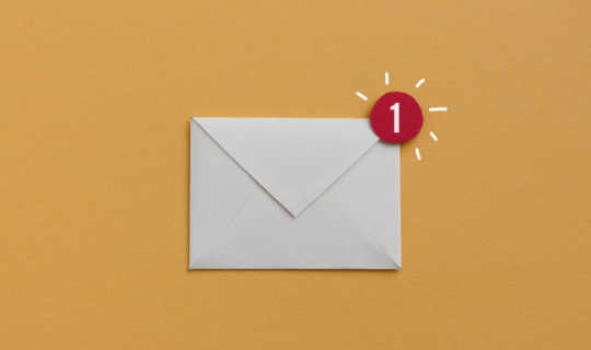 envelope on an orange background with a round red 1 notification at the corner