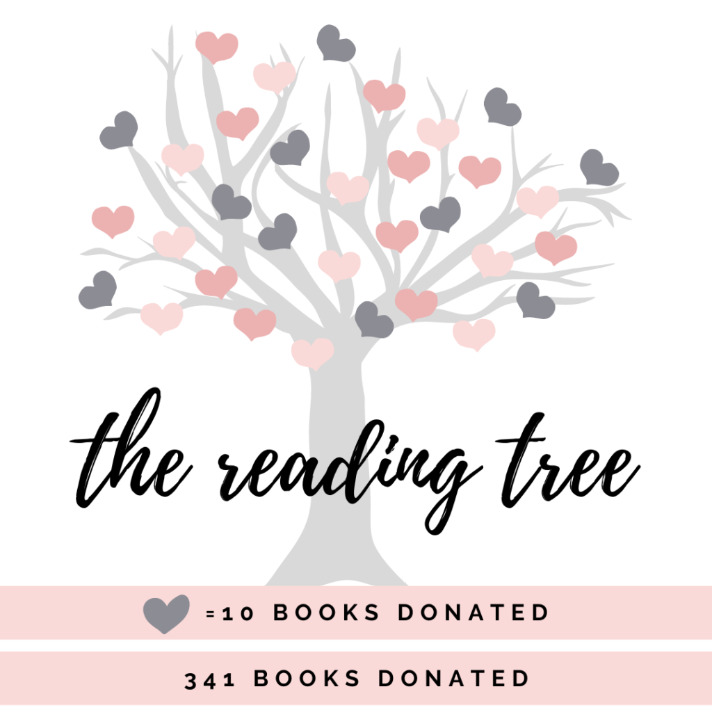 The reading tree, grey tree with 33 pink heart leaves, 1 leaf = 10 books donated. 341 books so far!